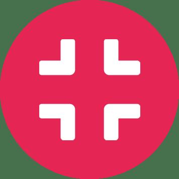 Biela ikona komprimácie v ružovom kruhu