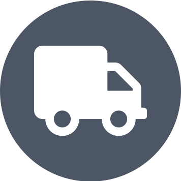 Grey circle with white truck