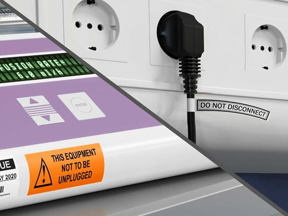 Labels on critical healthcare equipment informing not to unplug the equipment