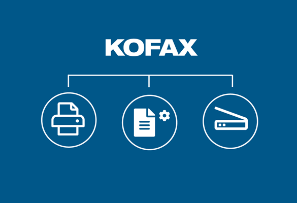 White Kofax logo on blue background with print, document and scan icons in circles