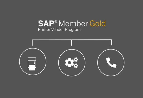 SAP member gold logo with label printer icon., cogs icon, phone icon