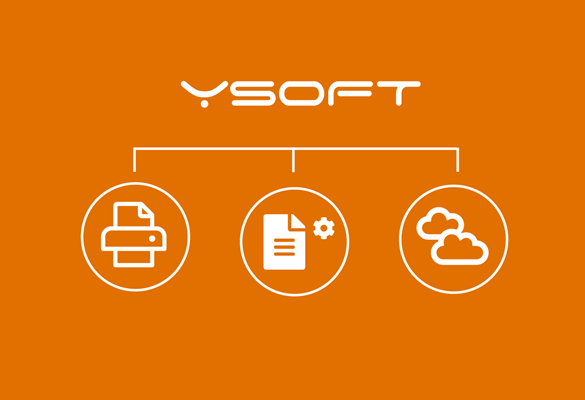 White YSoft logo on orange background with print, document and cloud icons in circles