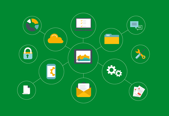 Green background with padlock, cloud, laptop, paper, email, setting icons