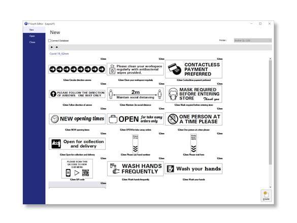 COVID-19-skabeloner i P-touch Editor