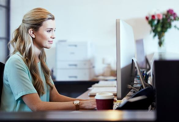 Business woman on a computer in office setting