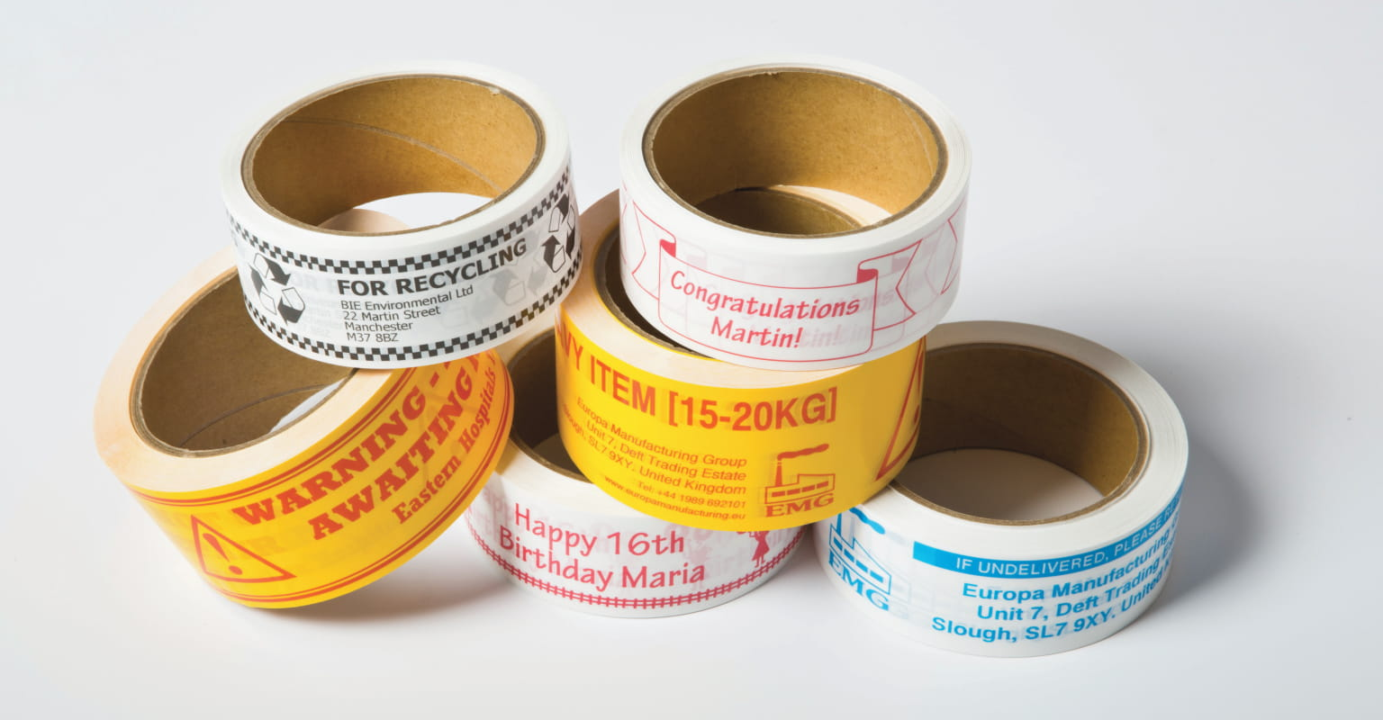 Various adhesive rolls printed on the Brother Tape Creator Pro