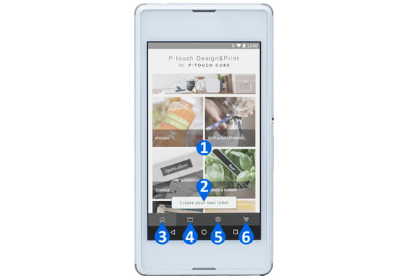 Pametni telefon sa sustavom Android prikazuje glavne značajke aplikacije P-touch Design & Print