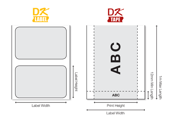 DK labels are available in a variety of sizes