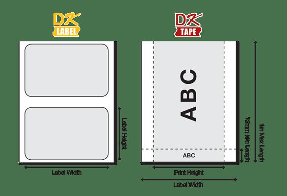 DK етикетите се предлагат в различни размери