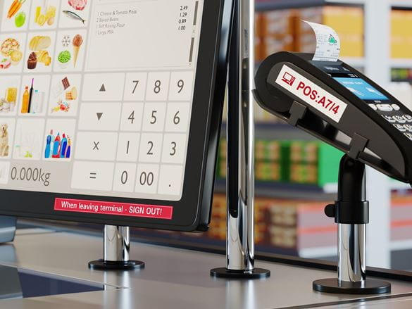 Brother P-touch durable labels attached to POS terminal and card reader
