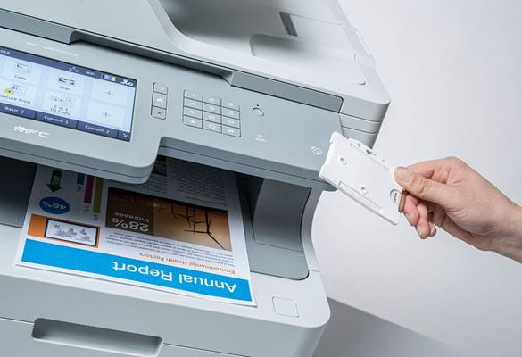 MFC-L9570CDW multifunction printer with NFC card