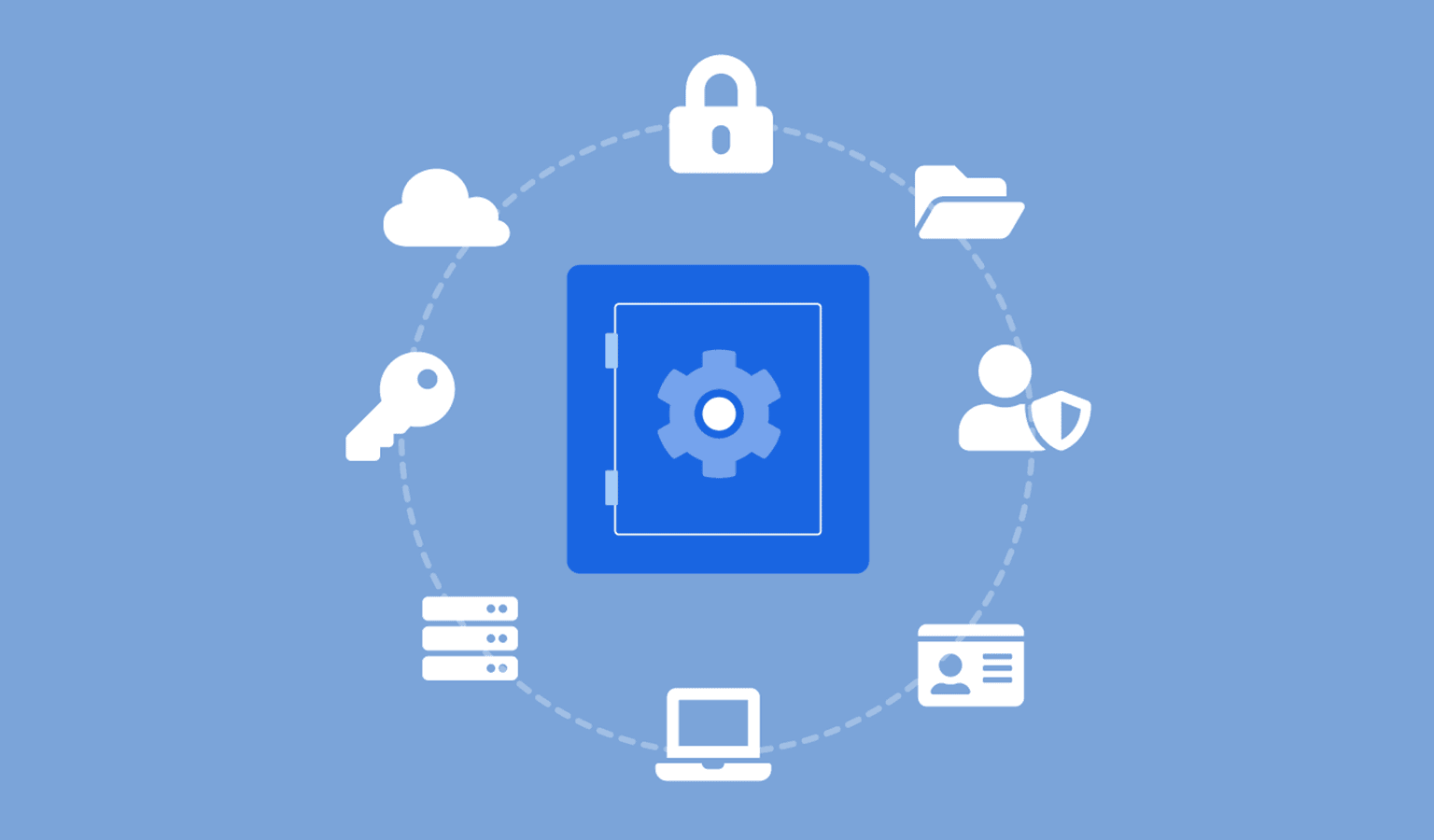 Light blue background with dark blue safe in the middle surrounded by white icons, padlock, cloud, key, server, files, computer