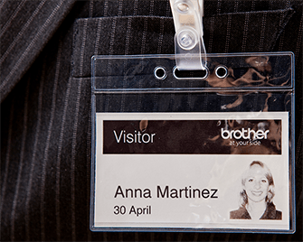 Visitor badge printed on Brother DK label on QL label printer