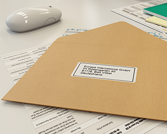 Etichetă de adresă imprimată pe imprimantă de etichete Brother