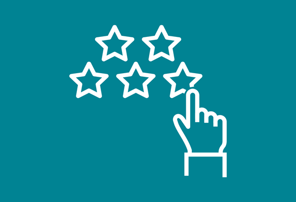 image of rating stars and hand