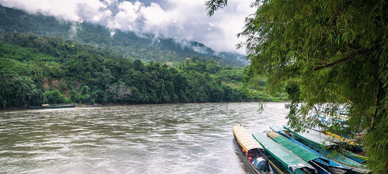 Båter på en elv i et regnskogsområde
