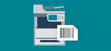 Printer with barcode on teal background