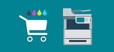 Printer image with shopping trolley icon and ink droplets going into trolley