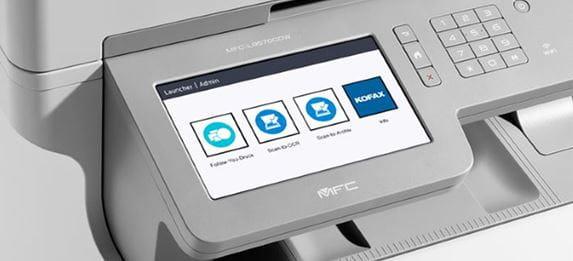 Grey multifunction printer touchscreen with kofax icons