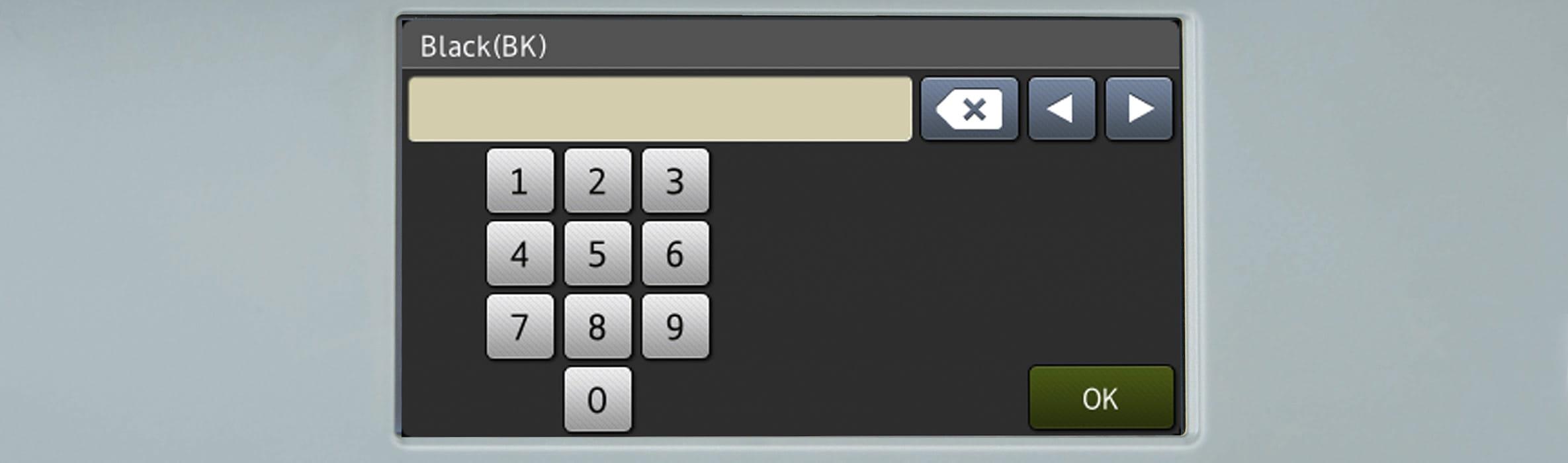 Talltaster på en skriverskjerm