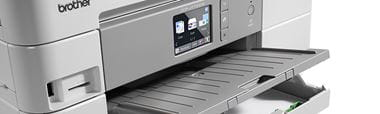 Multifunction printer with paper case open