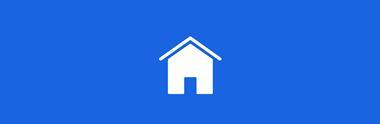 Ikona bílého domu na modrém pozadí