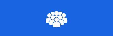 Bílá ikona postav s modrým pozadím