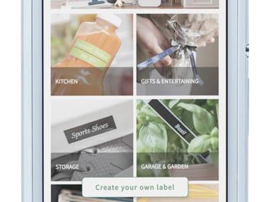 Aplikacja P-touch Design&Print powiększona na smartfonie, przedstawiająca różne kategorie