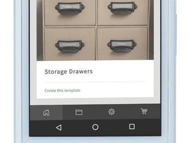 Aplikacja P-touch Design&Print powiększona na smartfonie, przedstawiająca jedną aplikację (szuflady do przechowywania)
