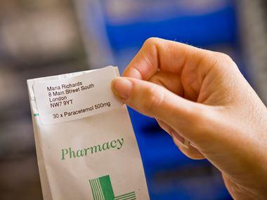 Štítok na sáčok s liekmi