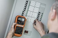 PT-E110 being used on a consumer unit