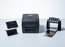TD-4T desktop label printer with peeler cutter and external roll holder accessories