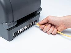 Служител включва жълт Ethernet кабел в етикетен принтер серия TD-4T