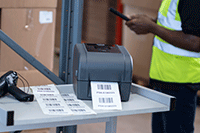 TD-4T imprimantă de etichete pe cărucior de metal și scaner de etichete