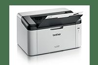 Mono laserová tiskárna s vytisknutým dokumentem, pohled z pravého boku