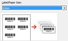 P-touch Editor label design software with 62mm paper size selected