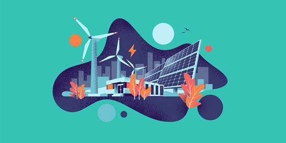 Illustration with builings, wind turbine, leafs, sun