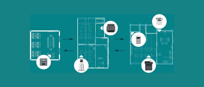 Un schéma montre l'installation de plusieurs imprimantes au sein d'un bureau