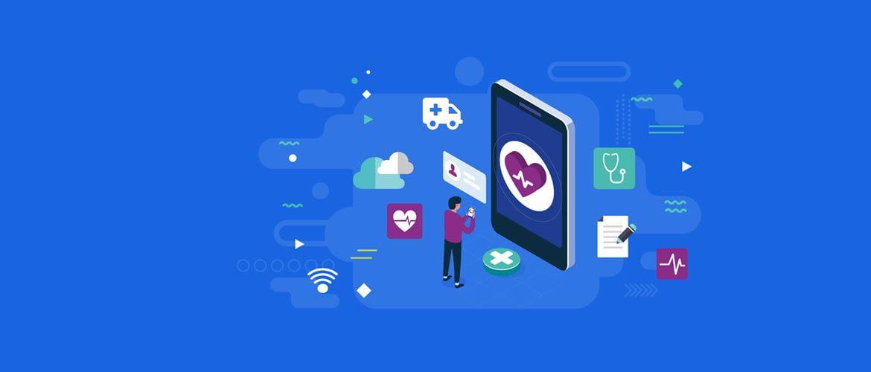 Fond bleu avec des icônes de personne, nuages, médical, ambulance, stéthoscope, wifi.