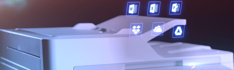 Imprimante laser multifonction couleur professionnelle MFC-L9570CDW de Brother avec icônes Microsoft Office au-dessus du bac de charges automatique de documents