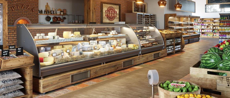Plan large de l'intérieur d'un magasin d'alimentation