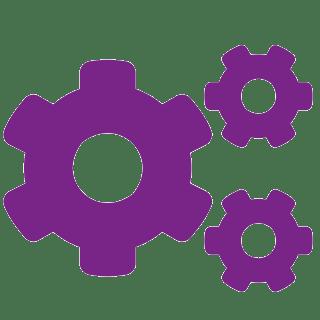 icône de rouages en violet avec fond transparent