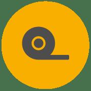 Icône de Pro-Tape montrant une bande adhésive se déroulant du rouleau