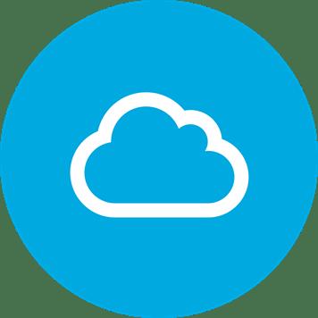 Symbole Cloud blanc sur un fond bleu