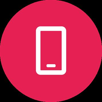 Symbole téléphone mobile blanc sur fond rose