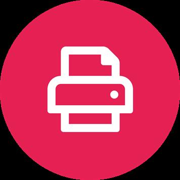 Symbole d'imprimante blanc sur fond rose
