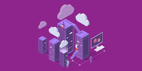 Illustration de personnes travaillant dans des bureaux, des nuages, des ordinateurs, des escaliers