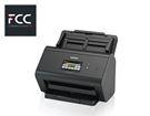 Un scanner ADS-2800W de marque Brother accompagné du logo du cabinet d'expertise comptable FCC