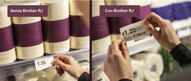 etichette per scaffali stampate con stampante Brother RJ