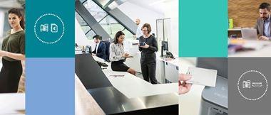 colleghi in ufficio con icone stampa gestita in riquadri colorati